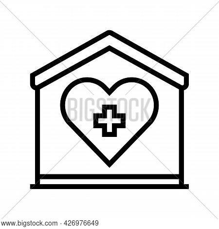 Home Care Service Line Icon Vector. Home Care Service Sign. Isolated Contour Symbol Black Illustrati