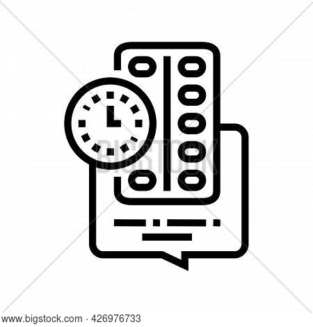 Remind To Take Pills Homecare Service Line Icon Vector. Remind To Take Pills Homecare Service Sign.