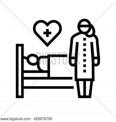 Helping And Caring For Sick People Line Icon Vector. Helping And Caring For Sick People Sign. Isolat
