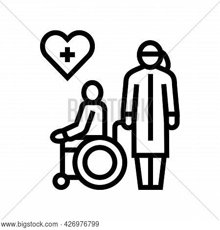 Helping And Caring For Disabled People At Home Line Icon Vector. Helping And Caring For Disabled Peo