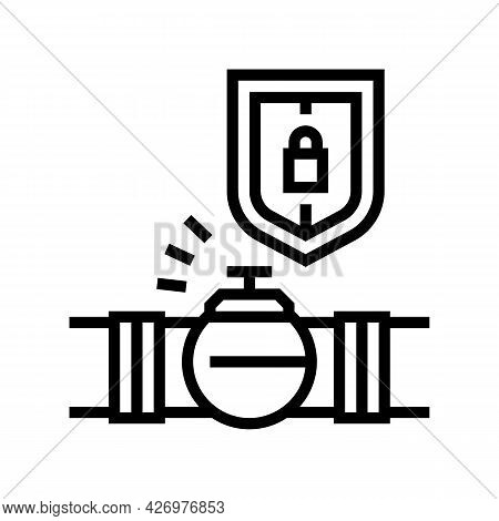 Protection System Of Pipeline Construction Line Icon Vector. Protection System Of Pipeline Construct