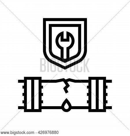 Repair Broken Pipeline Construction Line Icon Vector. Repair Broken Pipeline Construction Sign. Isol