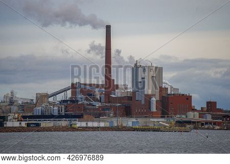 Kotka, Finland - November 02, 2019: View On The Pulp And Paper Plant Of