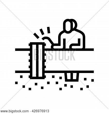 Worker Welding Pipeline Construction Line Icon Vector. Worker Welding Pipeline Construction Sign. Is