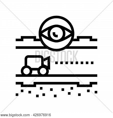 Supervision And Researching Pipeline Construction Line Icon Vector. Supervision And Researching Pipe