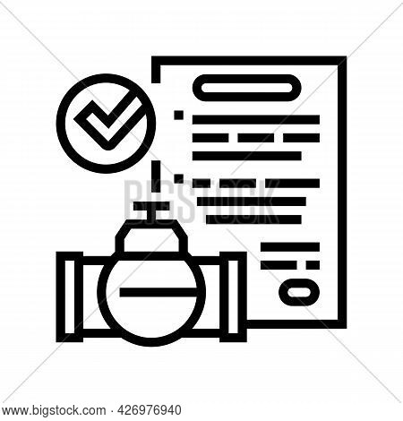 Contract Pipeline Construction Service Line Icon Vector. Contract Pipeline Construction Service Sign