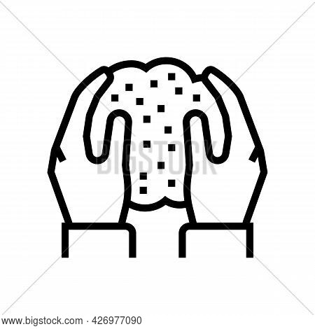 Hands Holding Soil In Hands Line Icon Vector. Hands Holding Soil In Hands Sign. Isolated Contour Sym