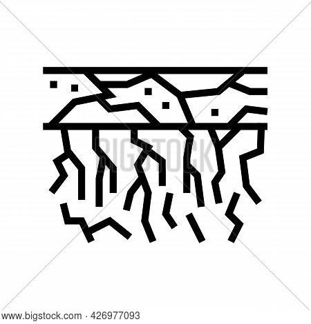 Dry Soil Line Icon Vector. Dry Soil Sign. Isolated Contour Symbol Black Illustration