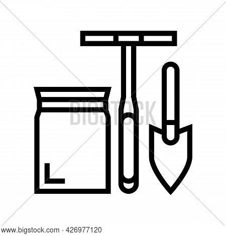 Shovel, Drill And Bag For Soil Testing Line Icon Vector. Shovel, Drill And Bag For Soil Testing Sign