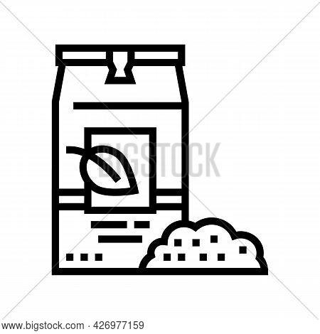 Loose Tea Bag Line Icon Vector. Loose Tea Bag Sign. Isolated Contour Symbol Black Illustration