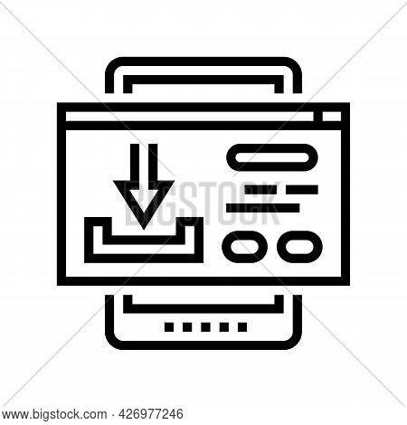 Download Content Ugc Line Icon Vector. Download Content Ugc Sign. Isolated Contour Symbol Black Illu
