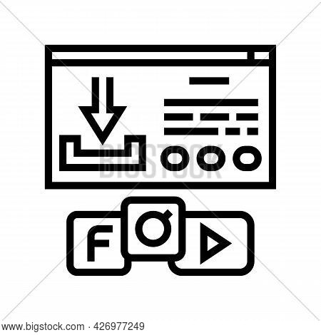 Download Window With Buttons Line Icon Vector. Download Window With Buttons Sign. Isolated Contour S