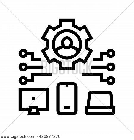 Devices Connection Of User Ugc Line Icon Vector. Devices Connection Of User Ugc Sign. Isolated Conto