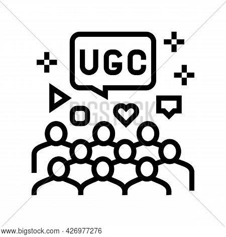 Public Social Media Users Ugc Line Icon Vector. Public Social Media Users Ugc Sign. Isolated Contour