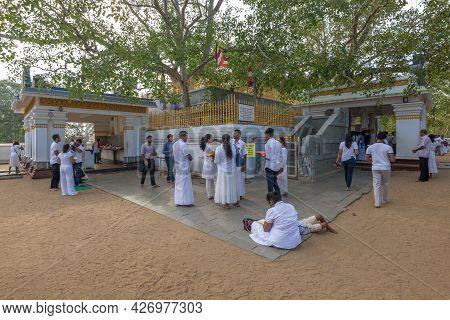Anuradhapura, Sri Lanka - February 06, 2020: Pilgrims At The Sacred Bodhi Tree