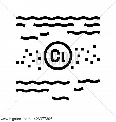 Disinfection Chlorin Water Line Icon Vector. Disinfection Chlorin Water Sign. Isolated Contour Symbo