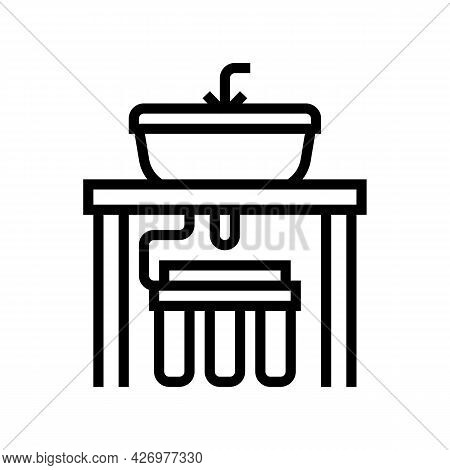 Water Filter Under Sink Line Icon Vector. Water Filter Under Sink Sign. Isolated Contour Symbol Blac