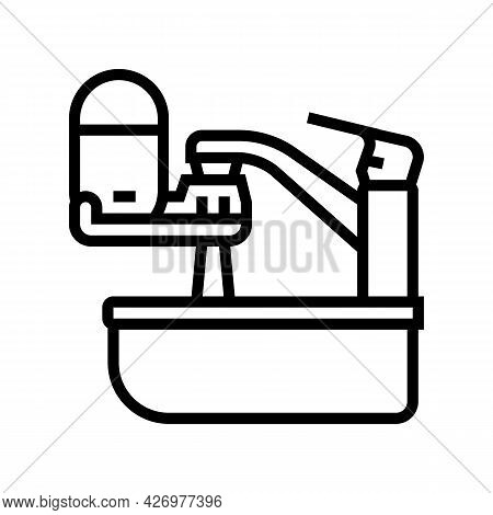 Portable Water Filter For Faucet Line Icon Vector. Portable Water Filter For Faucet Sign. Isolated C