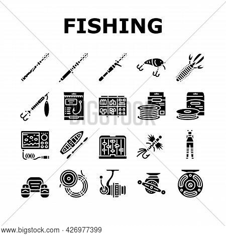 Fishing Shop Products Collection Icons Set Vector. Bait Cast Reel With Monofilament Line And Spinnin