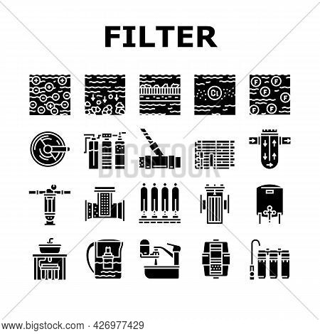 Water Filter Equipment Collection Icons Set Vector. Industrial And Home Water Filter Tool, Disinfect