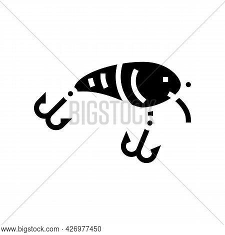 Crankbait Fishing Accessory Glyph Icon Vector. Crankbait Fishing Accessory Sign. Isolated Contour Sy