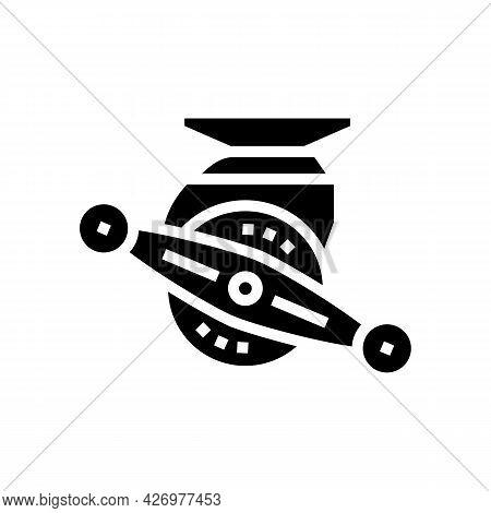 Bait Cast Reel Glyph Icon Vector. Bait Cast Reel Sign. Isolated Contour Symbol Black Illustration