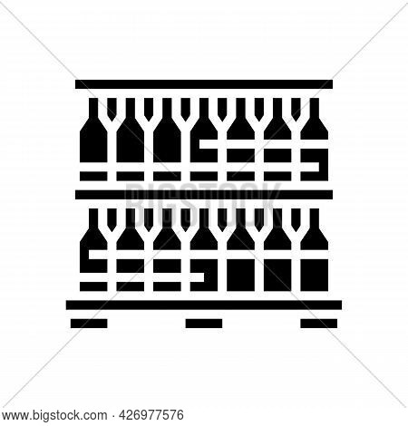 Bottle Glass Packing And Storage Glyph Icon Vector. Bottle Glass Packing And Storage Sign. Isolated
