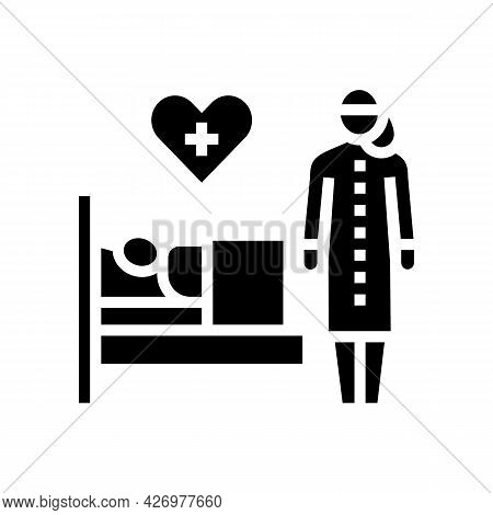 Helping And Caring For Sick People Glyph Icon Vector. Helping And Caring For Sick People Sign. Isola