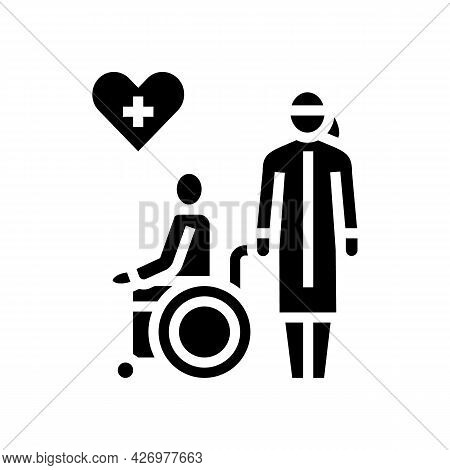 Helping And Caring For Disabled People At Home Glyph Icon Vector. Helping And Caring For Disabled Pe
