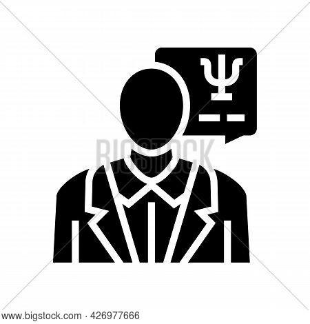 Psychologist Homecare Service Glyph Icon Vector. Psychologist Homecare Service Sign. Isolated Contou