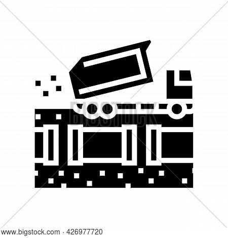 Truck Fill Up Pipeline Glyph Icon Vector. Truck Fill Up Pipeline Sign. Isolated Contour Symbol Black