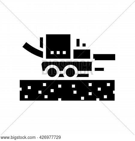 Pipe Layer Machine Glyph Icon Vector. Pipe Layer Machine Sign. Isolated Contour Symbol Black Illustr