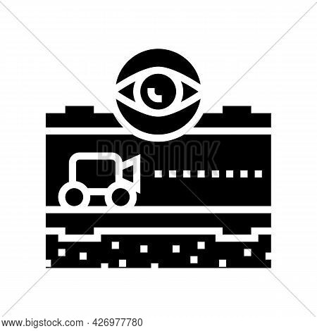 Supervision And Researching Pipeline Construction Glyph Icon Vector. Supervision And Researching Pip