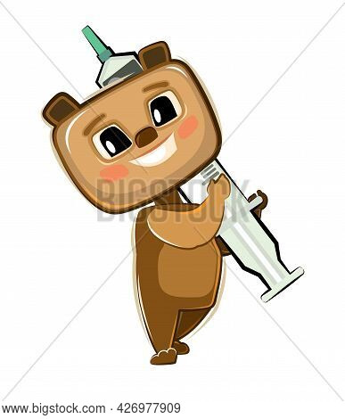 The Child Is Injected With A Syringe. Bear. Children's Medicine. Background Cartoon Illustration For