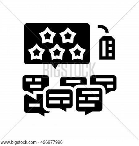Reviews Reputation Management Glyph Icon Vector. Reviews Reputation Management Sign. Isolated Contou