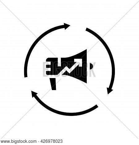 Brand Promotion Glyph Icon Vector. Brand Promotion Sign. Isolated Contour Symbol Black Illustration