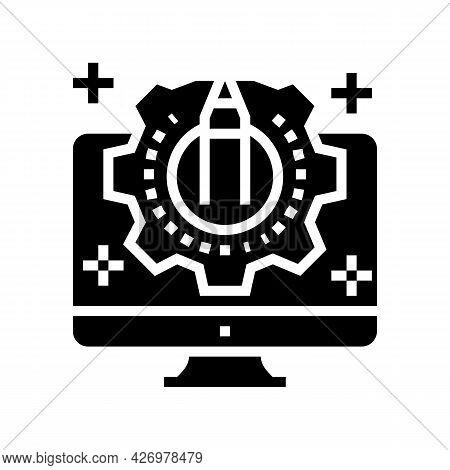 Creativity Process Ugc Glyph Icon Vector. Creativity Process Ugc Sign. Isolated Contour Symbol Black