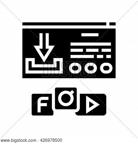 Download Window With Buttons Glyph Icon Vector. Download Window With Buttons Sign. Isolated Contour