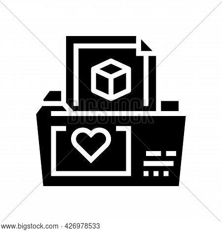 Folder Storage Ugc Glyph Icon Vector. Folder Storage Ugc Sign. Isolated Contour Symbol Black Illustr