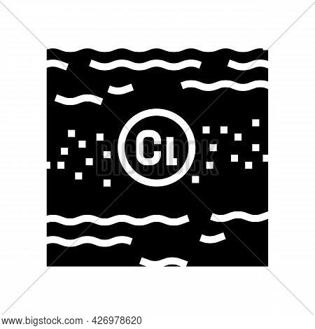 Disinfection Chlorin Water Glyph Icon Vector. Disinfection Chlorin Water Sign. Isolated Contour Symb