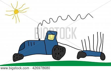 Drawing Of Child, Hand Drawn, Moving Blue Tractor With Trailer. Vector Illustration