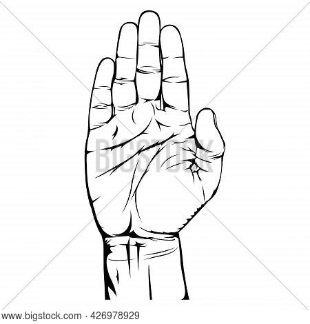 Hand Gesture. Male Hands. Hand Palm. Raises Hand. Black And White Illustration. Simple Illustration.