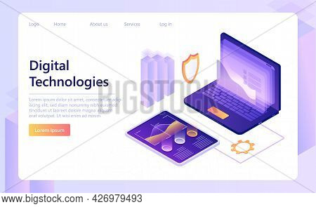 Digital Technologies Concept. Digital Process. Digital Business Analysis. Data Technology. Suitable