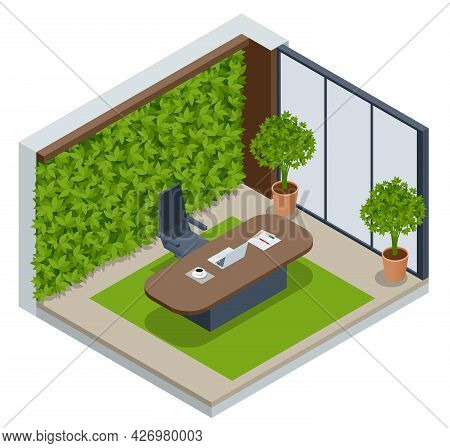 Isometric Green Wall In Office. Isometric Green Wall In Office. Contemporary Eco Office Room With Co