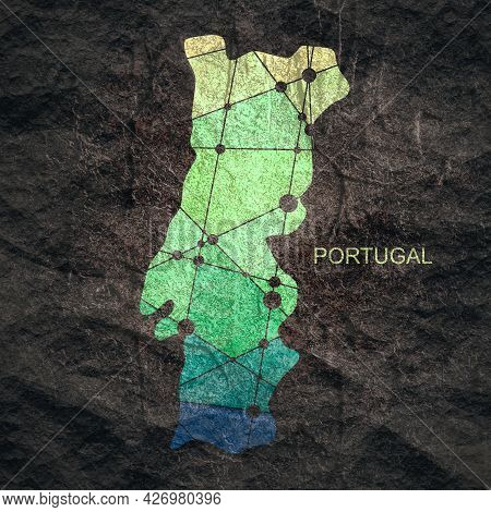 Map Of Portugal. Concept Of Travel And Geography.