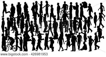 Set With Silhouette Of A Crowd Of People Standing In Different Poses Isolated On A White Background.