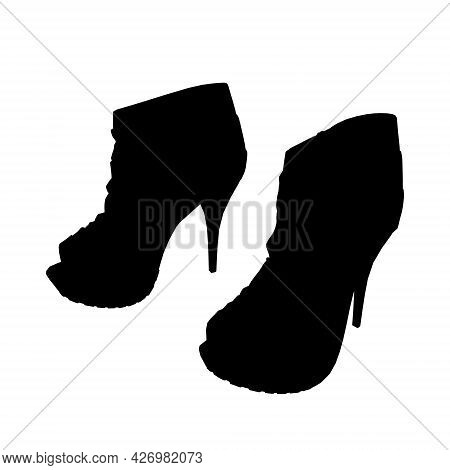 Silhouette Of Women High-heeled Shoes Isolated On White Background. Vector Illustration
