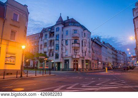 Zgorzelec, Poland - June 2, 2021: Street Between Old Tenement Houses At Night.