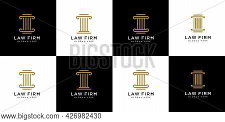 Set Of Isolated Pillar Icon. History Vector Element Can Be Used For Pillar, History, Column Design C