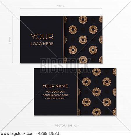 Template Black Presentable Business Cards. Decorative Business Card Ornaments, Oriental Pattern, Ill